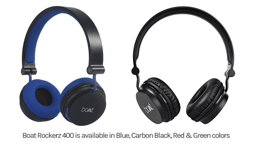 Boat Rockerz 400 on ear headphones are available in Blue, Carbon Black, Red & Green colors