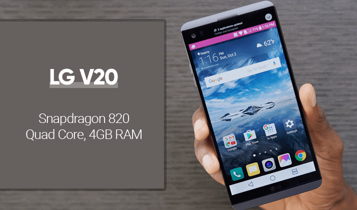 lg v20 an android smartphone with snapdragon 820 processor