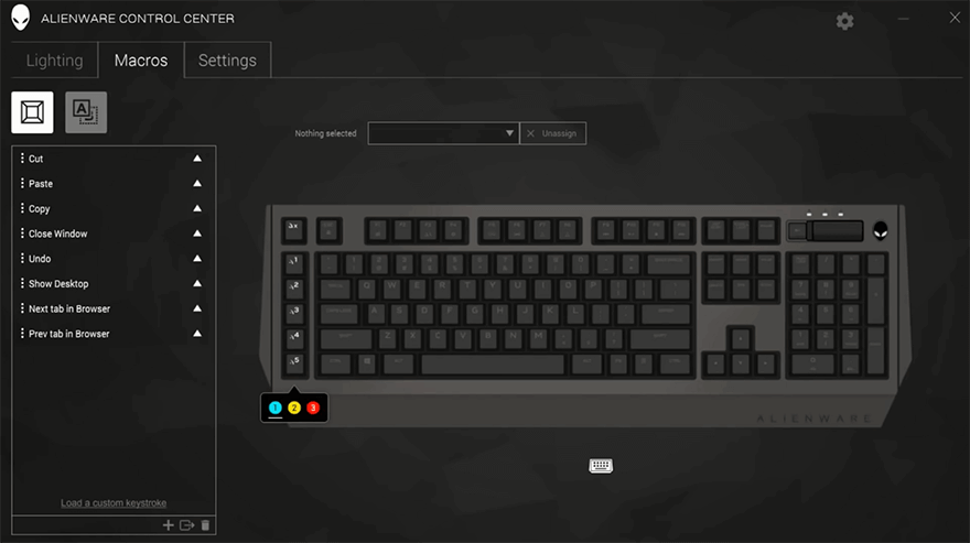 software settings to control the macro profile keys in the keyboard