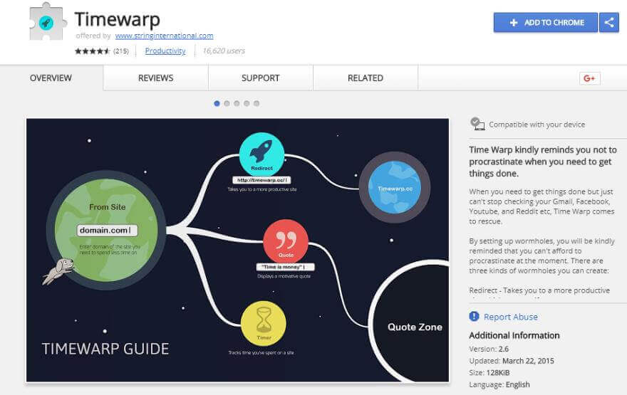 timewrap productivity extension for google chrome browser