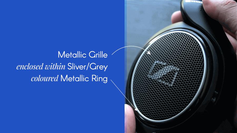metallic grille design of this premium headset