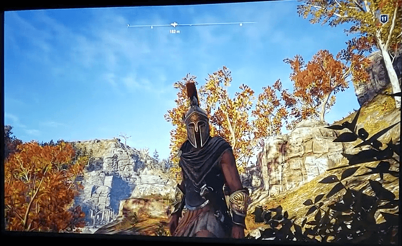 Playing Assassins Creed Odyssey on BenQ MW632ST projector