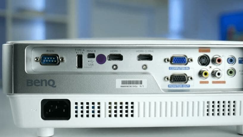 full size image of connectivity ports in benq projector